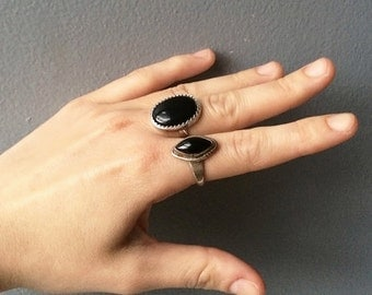 Pair of Vintage Native American Signed Sterling Silver Onyx Rings size 5.5 and 5.25