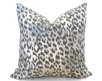 Leopard Pillow Cover - Gray and Aqua - Designer Pillow - Leopard Pillow - Decorative Pillow - Gray - Cream - Linen - Aqua - Linen Pillow