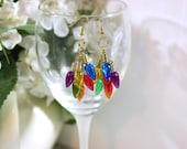 Rainbow Light Bulbs Miniature Christmas Ornament Charm Earrings - Chunky Christmas Fashion - Red, Orange, Yellow, Green, Blue, Purple