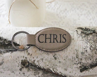 Leather Personalized  Key Holder, Custom Key Ring, Engraved Custom Key Chain, Best Dad Ever, Personalized Dad Gift