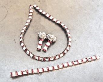 vintage art deco jewelry set - 1920s-30s rhinestone/sterling silver necklace, bracelet & earrings set
