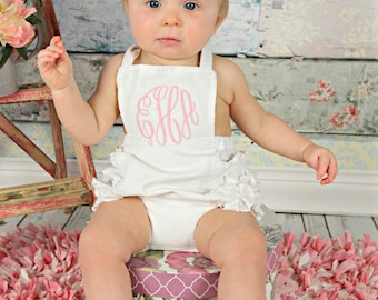 Baby Girl Sunsuit Romper, Monogrammed Sunsuit, Ruffle Romper, Toddler Girl, Beach Pictures, Beach Outfit