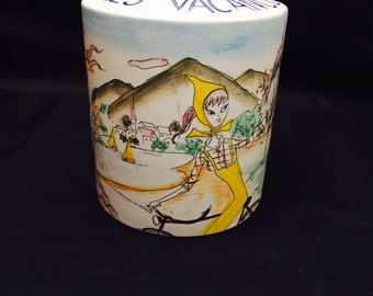 Vintage French Porcelain Coin Bank,  Pour Les Vacances Hand Painted Vacation Scenes,  For The Holidays