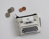 coin pouch -- black & white typewriter love