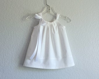 Baby Girls White Dress and Bloomers Outfit - Toddler Girls White Sun Dress - Baby Girl White Baptism Dress - Size Nb, 3m, 6m, 9m, 12m or 18m