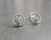 Silver and Gold Blue Topaz Circle Studs - Mixed Metals - Swiss Blue Topaz Earrings
