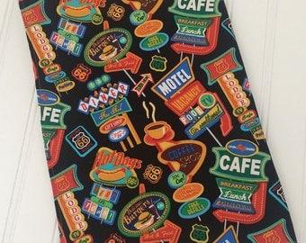 Retro Diner Cafe kitchen tea towel Vintage Coffee Shop fabric