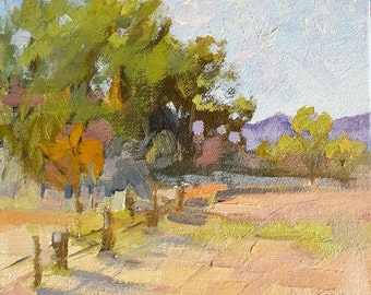 Square Landscape Oil Painting Afresco Impasto Ranch Farm 6x6 Sale