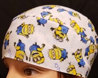 Handmade BELLO Minion Skull or Chemo Cap, Children, Hair Loss, Bald, Alopicha, Head Wrap, Men, Women, Hat, Helmet Liner, Surgical Cap,Cancer