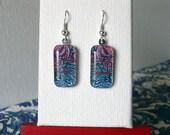 William Morris floral earrings, art earrings, small glass earrings, art nouveau earrings, pink and turquoise earrings, flowers, nature, boho