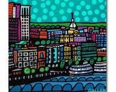 65% Off- Savannah Skyline Georgia Art Tile Ceramic Cityscape City Modern Abstract Print on Coaster