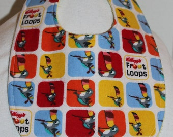 Fruit Loop Flannel / Terry Cloth Bib