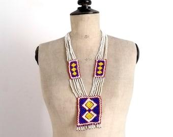 Vintage Années 70 Long Collier Coloré en Perles de Rocaille / Collier Hippie Bohème
