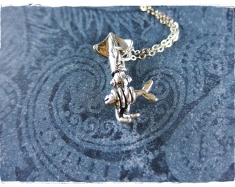 Silver Squid Necklace - Sterling Silver Squid Charm on a Delicate Sterling Silver Cable Chain or Charm Only