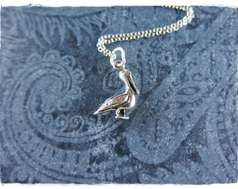 Tiny Pelican Necklace - Sterling Silver Pelican Charm on a Delicate Sterling Silver Cable Chain or Charm Only