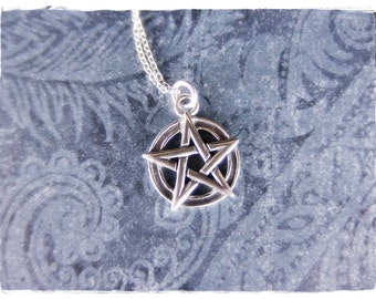 Small Pentagram Necklace - Sterling Silver Pentagram Charm on a Delicate Sterling Silver Cable Chain or Charm Only