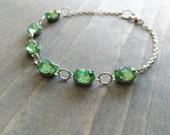 Peridot Rhinestone Bracelet, Light Green Crystal in Silver