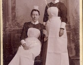 Victorian Era NURSES MAIDS In UNIFORM Cabinet Card Photo Crieff Scotland Circa 1880s