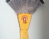 Native American Feather Fan, Regalia Fan, Smudge Fan, Smudging Feather, Child Regalia Fan, Native American Beadwork, Grouse Feather Fan
