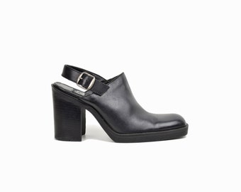 Vintage 90s Slingback Leather Heels / Black Leather Block Heel Sandals - women's 7