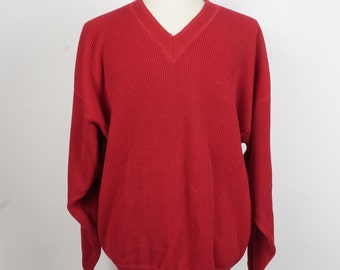 red V neck cotton ribbed slouchy sweater XL XXL cotton men's long pullover jumper 56 inch chest