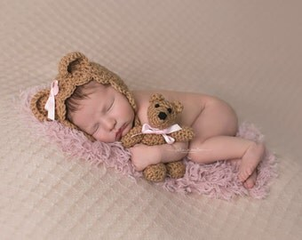 Infant Girl Crochet Teddy Bear Bonnet Photo Outfit - Newborn Girl Photo Outfit - Crochet Hat Baby - Crochet Teddy Bear - Infant Girl Prop