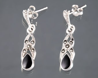 Sterling Silver Black Onyx Earrings with Marcasite 925 Dangle Jewelry