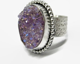 Lavender Quartz Drusy Ring in Handcrafted Sterling Silver Size 6