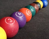Lucky number. Small vintage game colored numbered ball. Per piece.