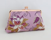 Lavender Flower - Rose Gold Kisslock Frame Clutch  - the Christine Style Clutch