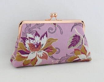 Lavender Flower - Rose Gold Kisslock Frame Clutch  - the Christine Style Clutch