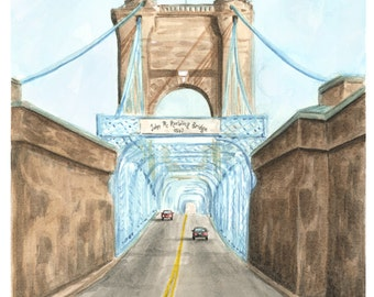 Roebling Bridge Watercolor Art Print