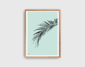 Palm leaf print, Nature print, Botanical print, Tropical leaf, Modern Poster, Minimalist Poster, Green Mint Poster, Scandinavian Style Decor