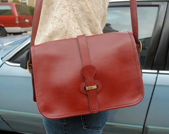 Vintage Saddlebag Maroon Oxblood Crossbody Purse