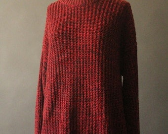 Vintage 80's Red and Black Oversized Knit Pullover Sweater by Uniform Code, size XL