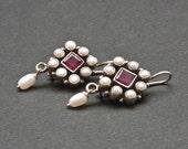 Red Ruby Earrings, Drop Pearl Earrings, Wedding Earrings, Bridal Earrings, Victorian Style Feminine Earrings, Red and White, Pearl Wedding