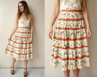 Vintage 1970's Floral Folk Pattern Midi Skirt With Lace Trim Size XS