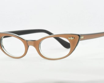 Vintage Cat Eye Glasses, NOS, Layered Brown over Black, Small Size, 1950s, 1960s