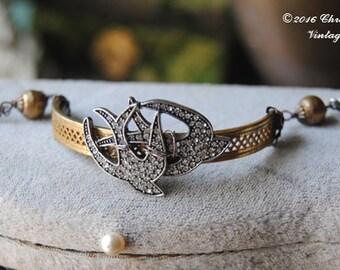 In Flight--Vintage Brass Bangle African Brass Trade Beads Sterling Link BRACELET