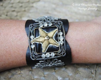 French Star Leather Cuff--Vintage Rhinestone Prong Set Buckle French Embroidered Star Leather Hand Sewn Cuff BRACELET