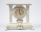 Small Mantle Clock / Regency Style Cottage Boudoir / Hand Painted in Aged White by OlliesFineThings