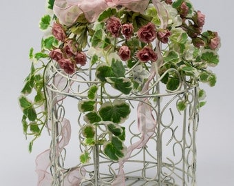 White Chippy Wire Birdcage with Silk Florals / Table Centerpiece / Wedding Shower Cardholder / Pink Miniature Roses / White Laurel