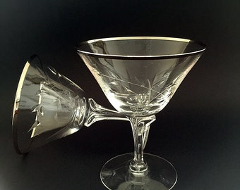 Elegant Vintage Crystal Stemware 2 Crystal Champagne Glasses Coupe Cocktail Glasses Fostoria Platinum Rim