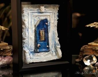 Fairy Door: BLUE HEAVEN. Faerie Dream Door sculpture dollhouse, furniture, gnome, by Fae Factory Fanntasy Artist Dr Franky Dolan (House Art)