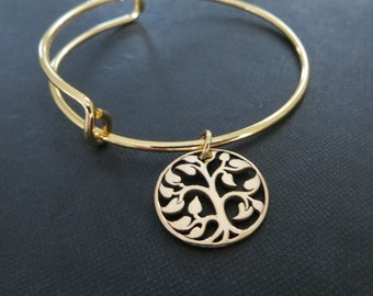 Mother of groom gift, Tree of life bangle bracelet, wedding day gift from bride, future mother in law