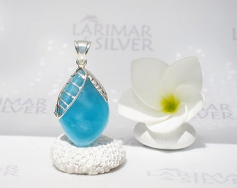 Larimarandsilver pendant, Fruit of the Secret Wisdom - deep blue Larimar stone, volcanic blue, sapphire blue almond handmade Larimar pendant