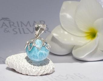 Larimar pendant, Mermaid Berry 6 - aqua Larimar sphere, water blue, aquamarine, dolphin stone, turtleback, water element, handmade pendant