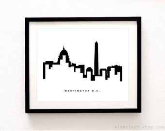 Washington DC  Cityscape Print - Washington DC  Wall Art - Washington DC Skyline Poster - Modern Black and White Decor - Aldari Art