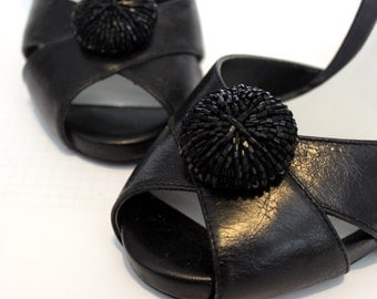 Black Iridescent Beaded Round Shoe Clips. Shoe Accessories. Handmade. Reused Materials.