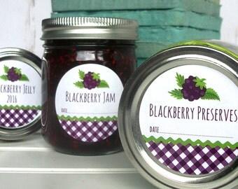 Gingham Blackberry canning labels, blackberry jam & jelly mason jar labels, blackberry fruit preserves canning jar label